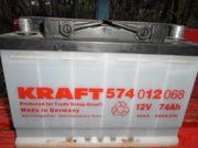 продается аккамулятор  бу  74 Ah  KRAFT